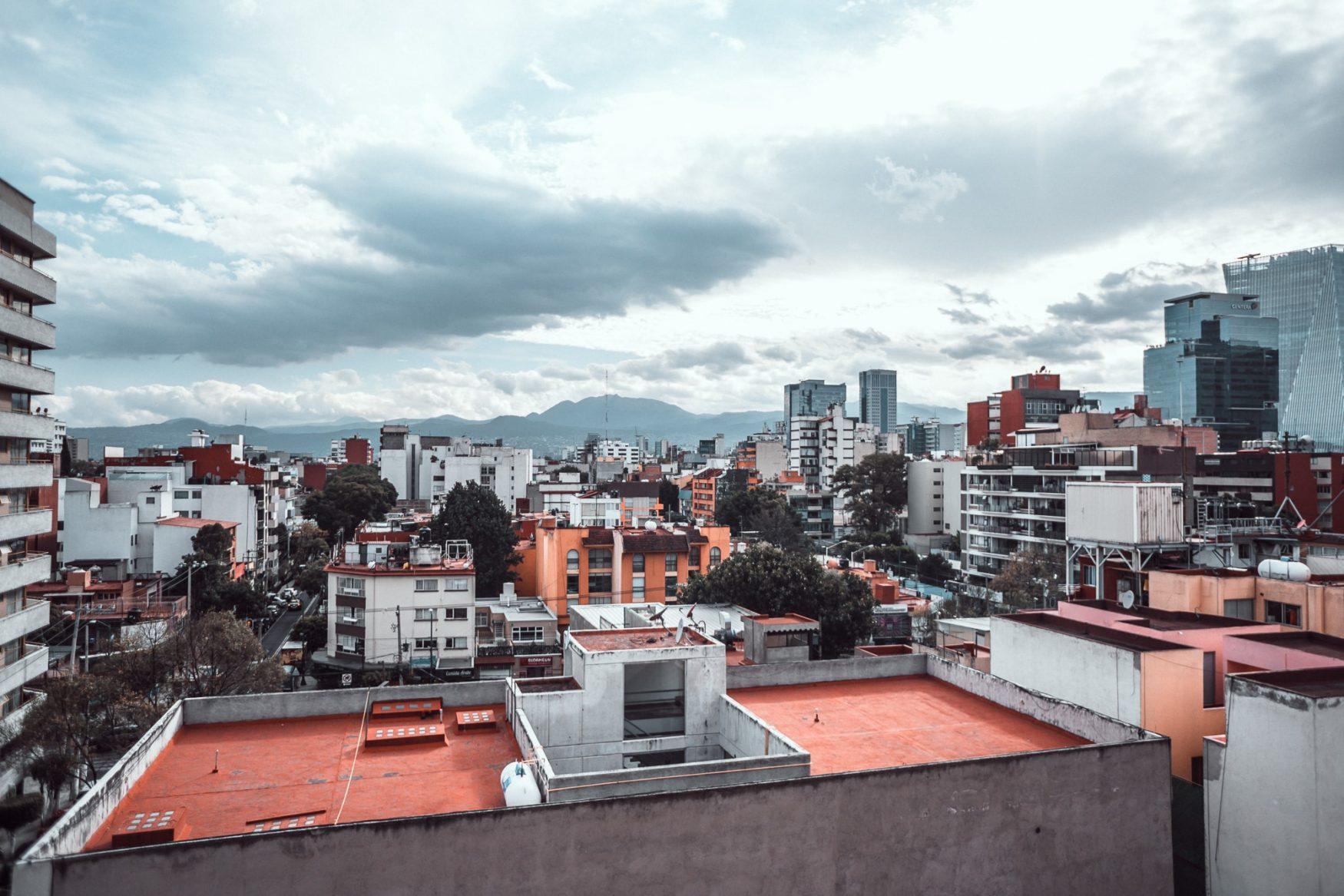 wide shot mexico city skyline